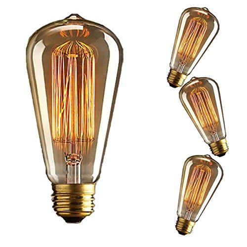 KINGSO 3x E27 40W Edison Lampe Vintage Stil Glühbirne Squirrel Cage Retro...