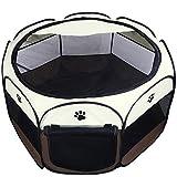Coolty Cachorro de Corral Portátil Tienda de Mascotas de 8 Paneles para Perros, Gatos, Conejos y Animales Pequeños Marrón(L)