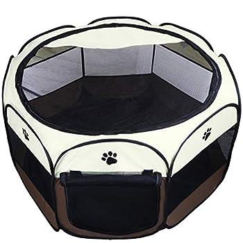 Coolty Parc à Chiots Chien, Chien Pliable Tente pour Chiens Chats Lapins et Petits Animaux(Marron,L)