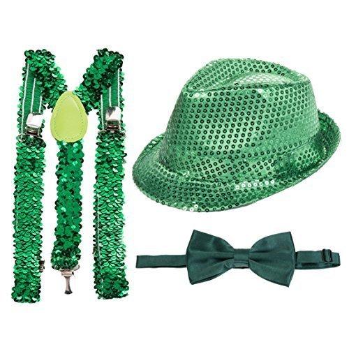 St Patricks Tag Grün Paillette Fedora, Grün Paillette Hosenträger & grün (Patricks Hosenträger Tag St)