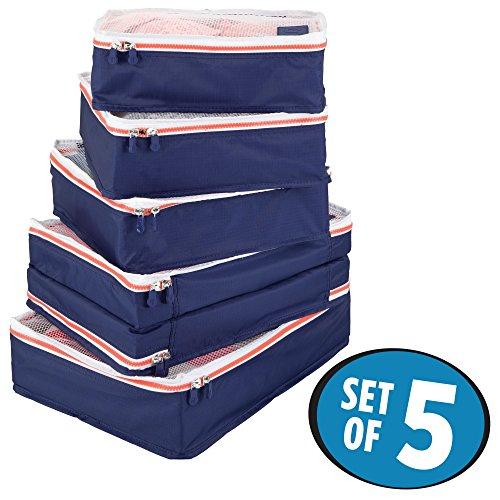 mDesign 5er-Set Aufbewahrungsbox mit Reißverschluss - Packtasche für Handgepäck, Koffer oder Reisetasche - atmungsaktive Wäschebox aus Polyester mit Netzeinsatz - Marineblau, weiß und orange