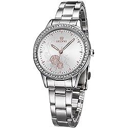 ufengke® geschnitzt pfingstrose wahl strass lünette handgelenk armbanduhren für frauen,weiß
