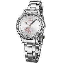 ufengke® peonía tallada rhinestone de línea reloj de pulsera muñeca bisel para las mujeres,blanco