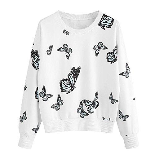 WUDUBE Papillon Impression Sweat Shirts Femme Manche Longue Pull Casual Tops Chemis