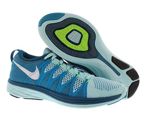Nike Flyknit Lunar2, Scarpe sportive, Uomo Petrolio/Bianco