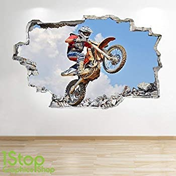 HUHU833 53cm*60cm Motorbike Motocross Wall Stickers Room Art Decor Removable Decals Black
