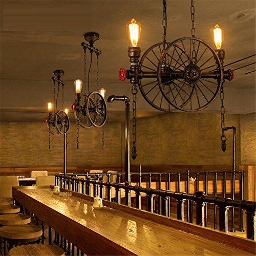 XIXIONG Lighting Tubi Retro Acque Industriali Ruota Di Ferro A Soffitto Lampada A Sospensione, Bar Caffè Ristorante Chandelier , Patina