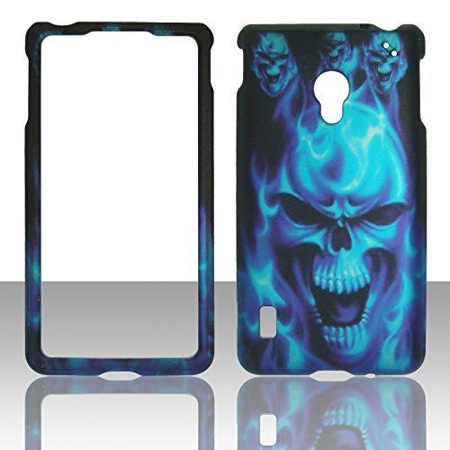 2D blau Totenkopf LG Lucid 2II VS870Verizon Schutzhülle Cover Snap auf Cover Fällen Displayschutzfolie matt gummierte Oberfläche Hard - Fällen Lucid Verizon Telefon Für Lg