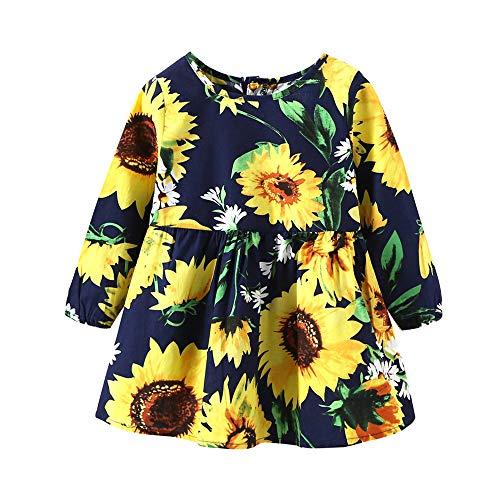 Hawkimin Kleinkind Baby Mädchen Sunflower-Blumendruck-Prinzessin Outfits -
