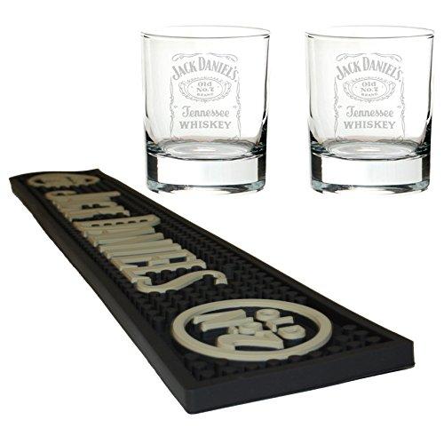 Jack Daniels Bier Matte/Bar Tischläufer mit 2Mixer Gläser