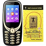 IKALL K3311 Dual Sim 2.4 Inch Display Basic Mobile Phone With Unbreakable Screen And 1800 Mah With Anti-Radiation Sticker (Golden Black)