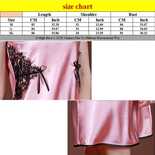 Zhhlinyuan Sexy Women's Silk Sleeveless Nightgowns Enchanting Lingerie Sleepshirts Watermelon Red