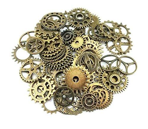 Selbstgemacht Kinder Kostüm - ericotry 100Gramm (ca. 70Stück) sortiert Retro Stil Antik Steampunk Gears Charms Anhänger Uhr Armbanduhr Rad Gear für, selbstgemachten Schmuck Zubehör (Bronze)