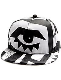 Men Women Black White Abstract Art Graffiti Big Eye Stripes Snapback Cap FFH146