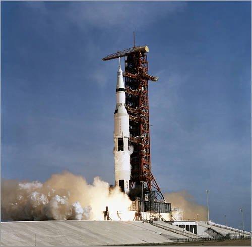 Alu Dibond 30 x 30 cm: Apollo 11 Raumfahrzeug hebt vom Kennedy Space Center ab von Stocktrek Images / Stocktrek Images