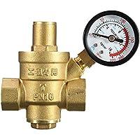 """KKmoon DN20 3/4""""Latón Válvulas reguladoras de mantenimiento de reducción de presión de agua Válvulas regulables de alivio con medidor 85 * 63 mm"""