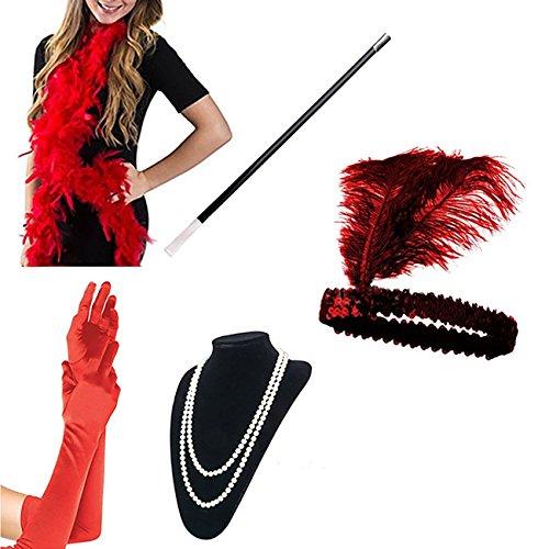 Flapper Zubehör Stirnband Halskette Handschuhe Zigarettenspitze Halloween Kostüm Accessoires für Damen 5 Stück,Rot ()