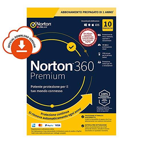 Norton 360 Premium 2020 Antivirus Software per 10 Dispositivi e 1 Anno di Abbonamento con Rinnovo Automatico Secure VPN e Password Manager PC, Mac, Tablet e Smartphone Codice d'Attivazione via email