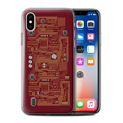 Stuff4 Gel TPU Hülle / Case für Apple iPhone X/10 / Gelb Muster / Leiterplatte Kollektion Rot
