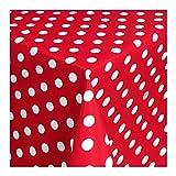 Wachstuch Tischdecke Wachstischdecke Gartentischdecke, Abwaschbar Meterware, Länge wählbar, Punkte Rot Weiß (150-01) 50cm x 140cm