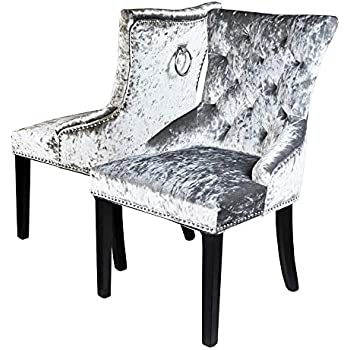 Sue Ryder Pair Of Grey Crushed Velvet Dining Chair Back