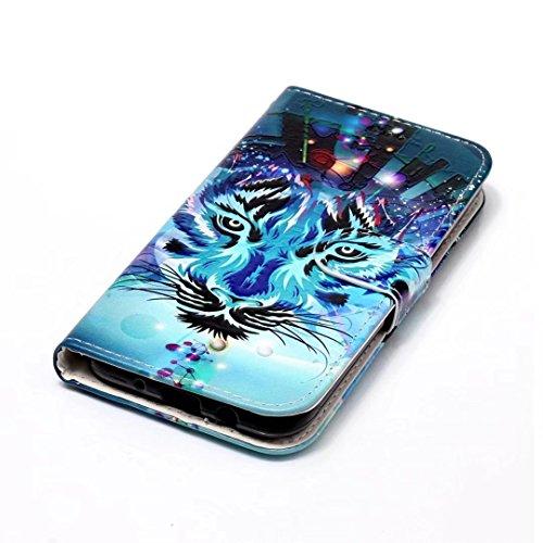 Cover iPhone 7 pelle PU fondina Ultra Sottile capovolgere Portafoglio Fessura per carta di credito Funzione Stent 3D cartone animato modello design custodia protettiva case Cover DECHYI Leone FD01