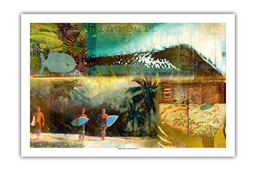 Pacifica Island Art - Surf Reise Tagebucheintrag - Kunst Collage von Wade Koniakowsky - Giclée Kunstdruck 61 x 91 cm