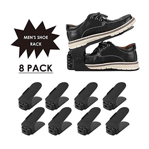Homgrace Lot de 8 Support à Chaussures Réglables, Range Chaussures, Organiseur de Chaussures,Chaussures Support Rack Plastique, 3 Niveaux de Hauteur Réglable, Grande Taille (Noir + 8 pcs)