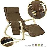 SoBuy poltrona a dondolo, Sedia relax con apoggiagambe regolabile, con porta oggetti,colore:marrone,FST18-BR,IT