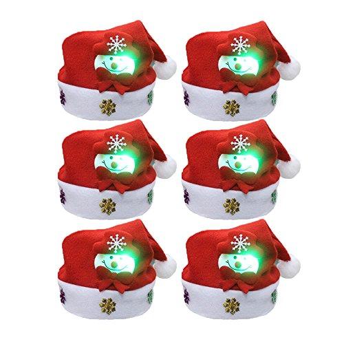FY 6pcs Unisex Kinder Weihnachtsmützen Nikolausmützen Weihnachtsmann Hüte Mützen Weihnachten Cap Leuchtendes Muster Xmas Abendessen Partei Kostüm Farbe 8
