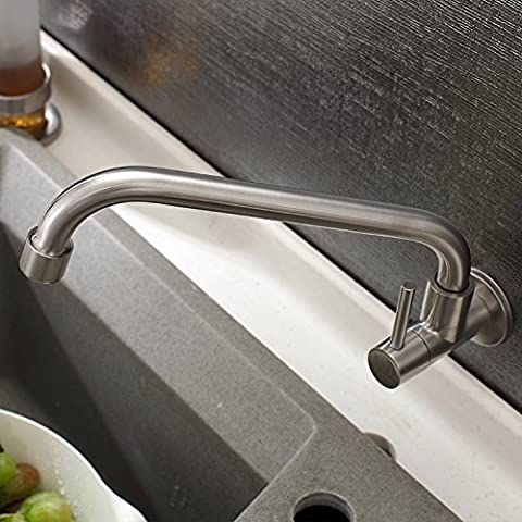 Furesnts Modern Home Kitchen And Bathroom Sink Taps Stainless Steel Wall Mounted Kitchen Faucet Sink Sink Single Cold Brushed Mixer (Standard G 1/2 Universal Hose Ports)