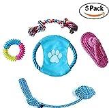 Vicstar Hundespielzeug 5pcs Kauspielzeug Hund Interaktives Spielzeug Set Baumwollknoten Zahnreinigung Spielset Seil Spielzeug für Hunde und Welpen - 5 Teile