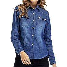 blusas mujer vaqueros slim fit, Sannysis camisetas manga larga elegantes mujer invierno blusa Turn-