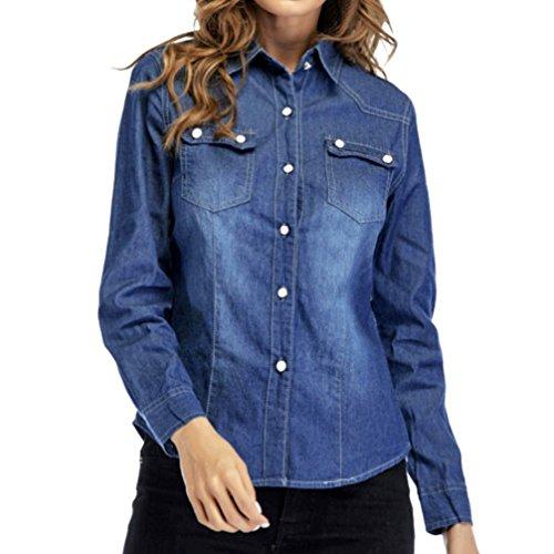 Sannysis Camisetas Manga Larga Elegantes Mujer Invierno Blusa Turn-Down Collar Mujer Originales de otoñal dobla Camisetas de Casuales Camisa Vaquera (M, Azul Oscuro)