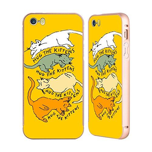 Ufficiale Kitten Rain Pattern Nastro Gatti Oro Cover Contorno con Bumper in Alluminio per Apple iPhone 5 / 5s / SE Abbraccio