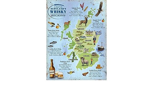 Cartina Scozia Politica.Whisky Mappa Scozia Scozzese Distilleria Touring Genitore 20 X 15 Cm Amazon It Casa E Cucina