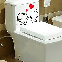 Inovey Impermeable Wc Etiqueta De La Pared Linda Caricatura Closestool Pegatina
