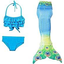 Tesoro de oro bebe niñas niños traje de baño bikini traje de baño de 3 piezas colas de sirena vestido de princesa fiesta de disfraces de Halloween con headwear