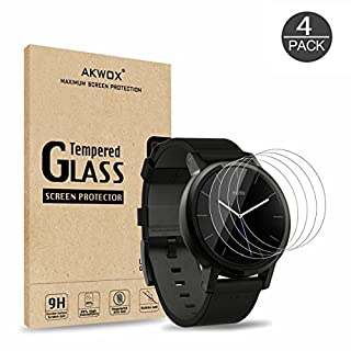 (Pack of 4) Tempered Glass Screen Protector for Moto 360 42mm (2nd Gen), Akwox [High Definition] Screen Protective Film for Motorola Moto 360 42mm (NOT FOR MOTO 360 46MM)