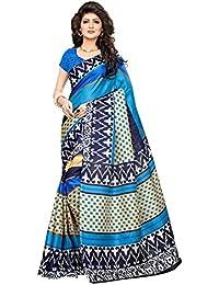 Art Decor Sarees Women's Sky-Blue Color Khadi Jute Silk Printed Saree With Blouse