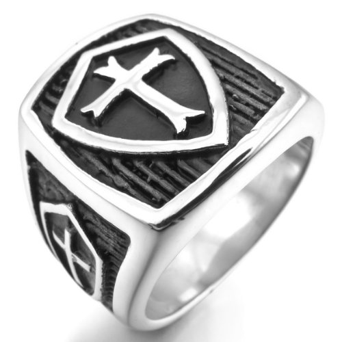 MunkiMix-Acero-Inoxidable-Anillo-Ring-Plata-Negro-Celta-Celtic-Medieval-Cruzar-Cruz-Escudo-Gtico-Gothic-Hombre
