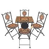5tlg. Mosaik Sitzgarnitur Gartengarnitur Terrassenmöbel Balkonmöbel Sitzgruppe 2x Klappstuhl Mosaiktisch 70x70cm