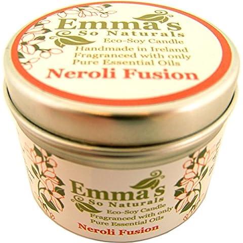 Eco soja vela perfumada de Emma en una lata con tapa con Neroli La fusión