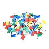 Confezione da nr.100 puntine a bandierina per bacheche in sughero, ideali per marcare i punti sulle mappe, adatte per l'ufficio o in casa, fornite in colori assortiti.