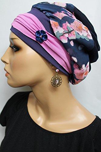 Beanie Mütze Ballonmütze Kirschblüten Rosa Blau mit Band little things in life Chemo Cap Hat Chemomütze Mütze bei Krebs Kopfbedeckung Turban -