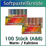 PASTELLKREIDE 100 Stück Maries Pastellkreiden je 50 Warme (Set A) und 50 Kalte (Set B) Farben