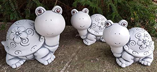 Gartendeko 3-Set süße Schildkröten-Familie Deko für Garten Balkon Hochbeet Steinfigur frostfest