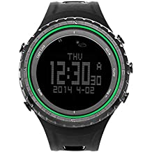 SUNROAD FR801B Multifunction Sports Watch -Pedometer Stopwatch Altimeter Barometer Thermometer CompassTimer LCD Display EL Backlight Outdoor Watch (Green)