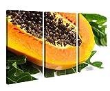 Leinwandbild 3 Tlg Papaya reif Obst Frucht Küche Blatt Leinwand Bild Bilder canvas Holz fertig gerahmt 9V1167, 3 tlg BxH:90x60cm (3Stk 30x 60cm)