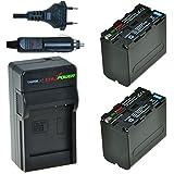 ChiliPower Sony NP-F970, NP-F975, NP-F960, NP-F950 Kit: 2x Batería (7400mAh) + Cargador para Sony DCR-VX2100, DSR-PD150, DSR-PD170, FDR-AX1, HDR-AX2000, HDR-FX1, HDR-FX7, HDR-FX1000, HVL-LBPB, HVR-HD1000U, HVR-V1U, HVR-Z1P, HVR-Z1U, HXR-MC2000U, MVC-FDR1, NEX-EA50UH, NEX-FS100U, NEX-FS700U
